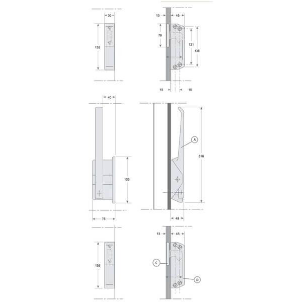 Cierre puerta frigorífica pivotante | Tiendamascold